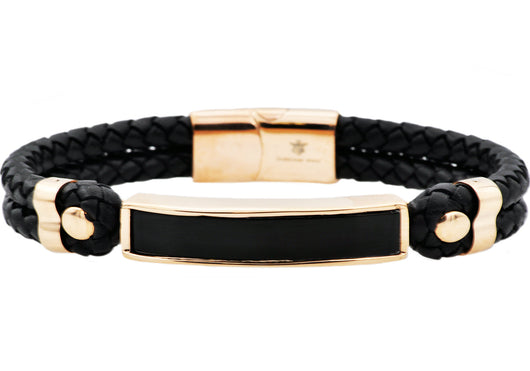 Mens Genuine Onyx And Black Leather Rose Plated Stainless Steel Bracelet