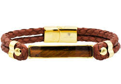 Mens Genuine Tiger Eye And Brown Leather Gold Plated Stainless Steel Bracelet