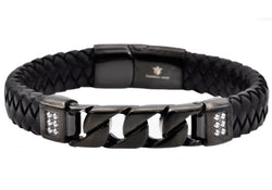 Mens Black Leather And Black Plated Stainless Steel Imitation Curb Link Bracelet With Cubic Zirconia - Blackjack Jewelry
