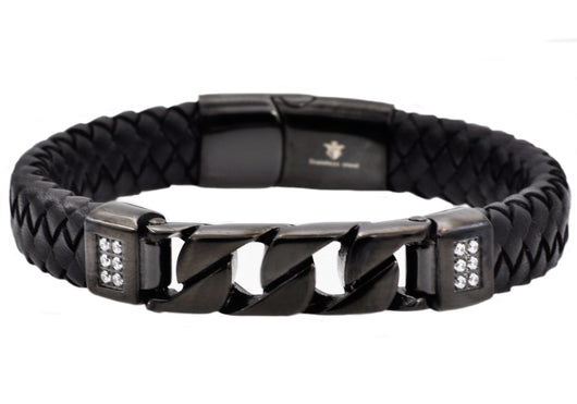 Mens Black Leather And Black Plated Stainless Steel Imitation Curb Link Bracelet With Cubic Zirconia