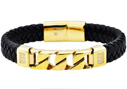 Mens Black Leather And Gold Plated Stainless Steel Imitation Curb Link Bracelet With Cubic Zirconia - Blackjack Jewelry