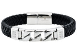 Mens Black Leather And Stainless Steel Imitation Curb Link Bracelet With Cubic Zirconia