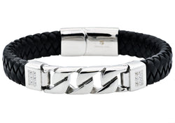 Mens Black Leather And Stainless Steel Imitation Curb Link Bracelet With Cubic Zirconia - Blackjack Jewelry