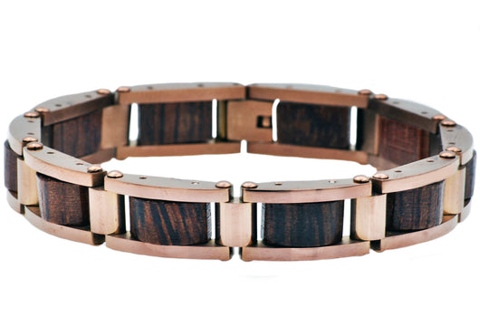 Mens Chocolate Plated Stainless Steel And Wood Bracelet