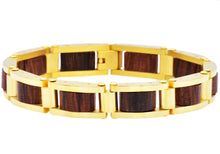 Load image into Gallery viewer, Mens Gold Plated Stainless Steel And Wood Bracelet - Blackjack Jewelry