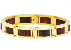 Mens Gold Plated Stainless Steel And Wood Bracelet - Blackjack Jewelry