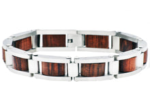Load image into Gallery viewer, Mens Stainless Steel And Wood Bracelet - Blackjack Jewelry