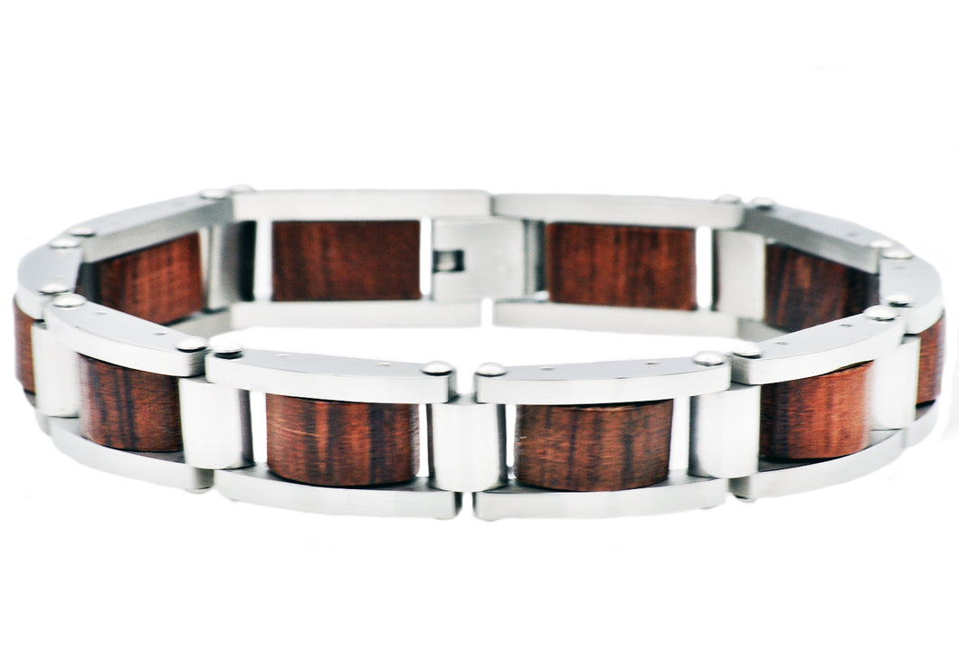 Mens Stainless Steel And Wood Bracelet - Blackjack Jewelry