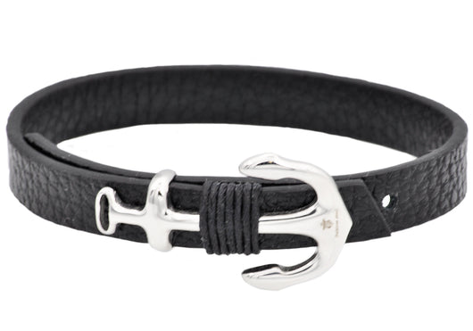 Mens Black Leather Stainless Steel Anchor Bracelet With Adjustable Strap