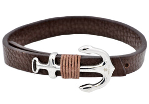 Mens Brown Leather Stainless Steel Anchor Bracelet With Adjustable Strap - Blackjack Jewelry