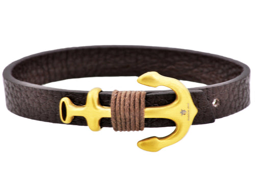 Mens Brown Leather Gold Stainless Steel Anchor Bracelet With Adjustable Strap - Blackjack Jewelry
