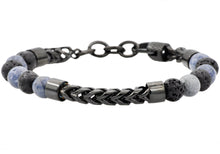 Load image into Gallery viewer, Mens Genuine Labradorite And Onyx Black Plated Stainless Steel Beaded And Franco Link Chain Bracelet With Adjustable Clasp - Blackjack Jewelry