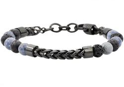 Mens Genuine Labradorite And Onyx Black Plated Stainless Steel Beaded And Franco Link Chain Bracelet With Adjustable Clasp