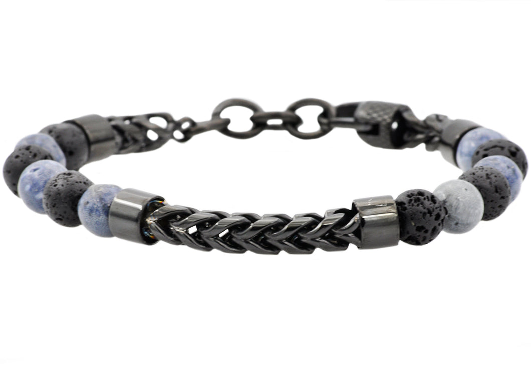 Mens Genuine Labradorite And Onyx Black Plated Stainless Steel Beaded And Franco Link Chain Bracelet With Adjustable Clasp - Blackjack Jewelry