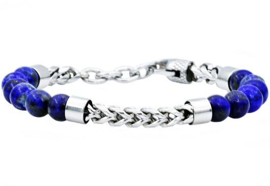 Mens Genuine Lapis Lazuli Stainless Steel Beaded And Franco Link Chain Bracelet With Adjustable Clasp - Blackjack Jewelry