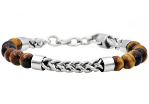 Mens Genuine Tiger Eye Stainless Steel Beaded And Franco Link Chain Bracelet With Adjustable Clasp - Blackjack Jewelry