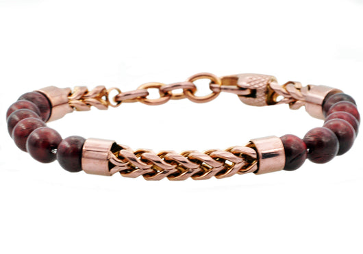 Mens Genuine Red Tiger Eye Chocolate Plated Stainless Steel Beaded And Franco Link Chain Bracelet With Adjustable Clasp