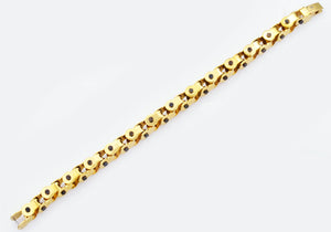 Mens Gold And Black Stainless Steel Link Bracelet - Blackjack Jewelry