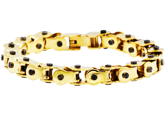 Mens Gold And Black Plated Stainless Steel Link Bracelet