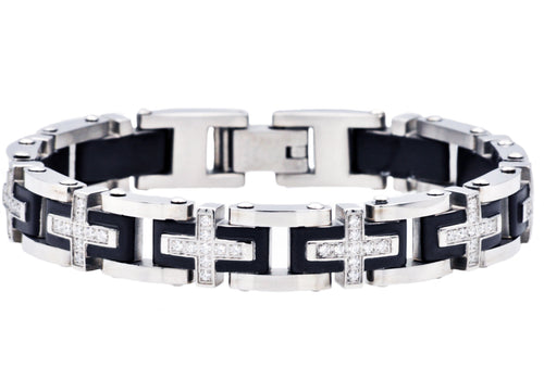 Mens Black Plated Stainless Steel Cross Bracelet With Cubic Zirconia - Blackjack Jewelry