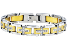 Load image into Gallery viewer, Mens Gold Stainless Steel Cross Bracelet With Cubic Zirconia - Blackjack Jewelry