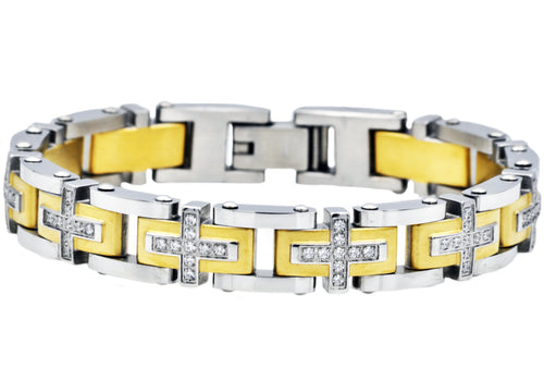 Mens Gold Plated Stainless Steel Cross Bracelet With Cubic Zirconia - Blackjack Jewelry