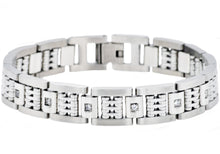 Load image into Gallery viewer, Mens Matte Finish Stainless Steel Bracelet With Cubic Zirconia And Polished Steel Parts - Blackjack Jewelry