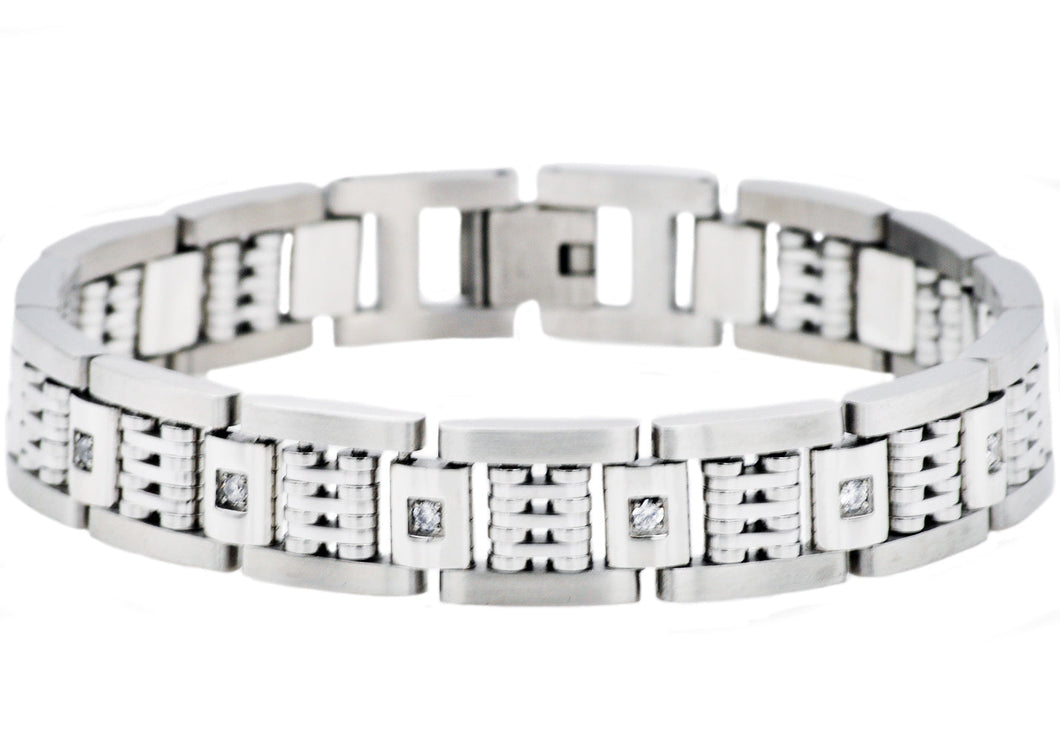 Mens Matte Finish Stainless Steel Bracelet With Cubic Zirconia And Polished Steel Parts - Blackjack Jewelry