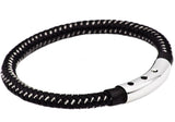 Mens Black Leather And Black Plated Stainless Steel Bracelet - Blackjack Jewelry