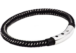 Mens Black Leather And Black Plated Stainless Steel Bracelet