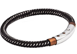 Mens Brown Leather And Chocolate Plated Stainless Steel Bracelet