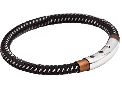 Mens Brown Leather And Chocolate Stainless Steel Bracelet - Blackjack Jewelry