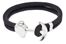 Load image into Gallery viewer, Mens Black Twisted Cotton Rope Stainless Steel Anchor Bracelet - Blackjack Jewelry