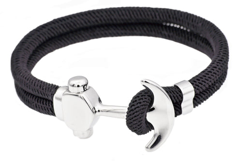 Mens Black Twisted Cotton Rope Stainless Steel Anchor Bracelet With Adjustable Strap - Blackjack Jewelry