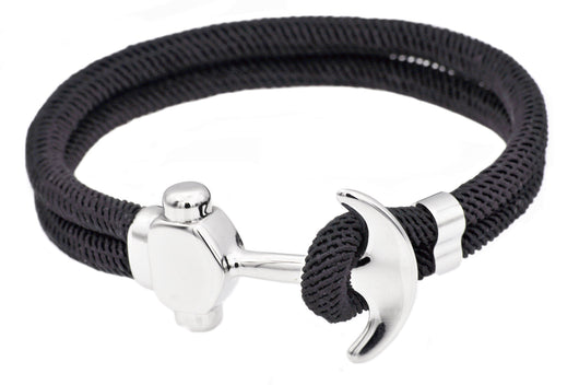 Mens Black Twisted Cotton Rope Stainless Steel Anchor Bracelet With Adjustable Strap