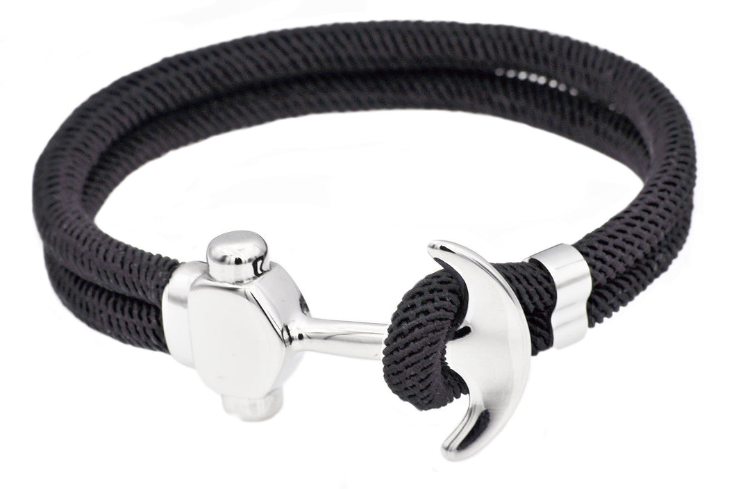 Mens Black Twisted Cotton Rope Stainless Steel Anchor Bracelet - Blackjack Jewelry