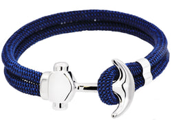 Mens Navy Twisted Cotton Rope Stainless Steel Anchor Bracelet With Adjustable Strap