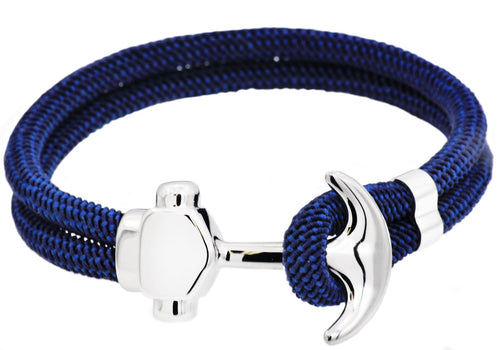 Mens Navy Twisted Cotton Rope Stainless Steel Anchor Bracelet With Adjustable Strap - Blackjack Jewelry