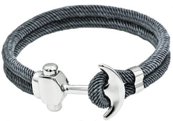 Mens Gray Twisted Cotton Rope Stainless Steel Anchor Bracelet With Adjustable Strap
