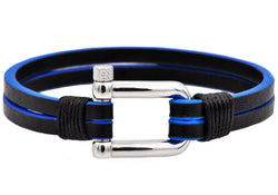 Mens Black And Blue Leather Stainless Steel Bracelet