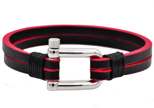 Mens Black And Red Leather Stainless Steel Bracelet - Blackjack Jewelry