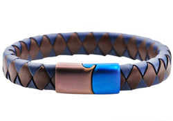 Mens Brown And Blue Leather Brown And Blue Plated Stainless Steel Bracelet