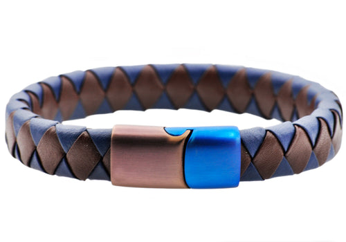 Mens Brown And Blue Leather Brown And Blue Stainless Steel Bracelet - Blackjack Jewelry