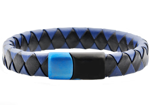 Mens Black And Blue Leather Black And Blue Plated Stainless Steel Bracelet - Blackjack Jewelry