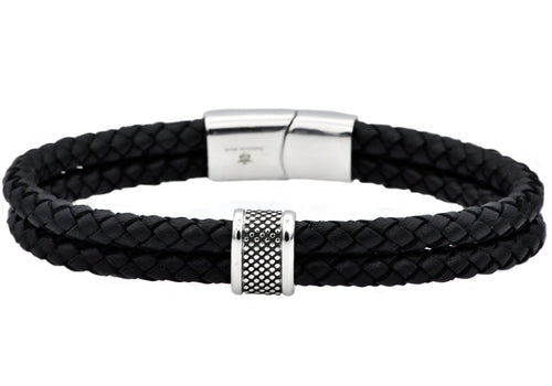 Mens Double Braided Black Leather Stainless Steel Bracelet - Blackjack Jewelry