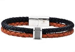 Mens Black And Brown Leather Stainless Steel Bracelet - Blackjack Jewelry