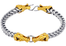 Load image into Gallery viewer, Mens Two Tone Gold Plated Stainless Steel Franco Link Chain Dragon Bracelet - Blackjack Jewelry