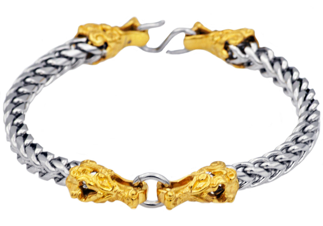 Mens Two Tone Gold Plated Stainless Steel Franco Link Chain Dragon Bracelet - Blackjack Jewelry