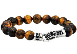 Mens Genuine Tiger Eye Stainless Steel Beaded Bracelet