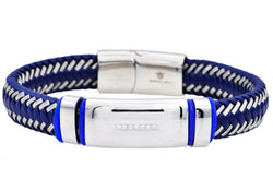 Mens Blue Leather And Blue Plated Stainless Steel Bracelet With Cubic Zirconia